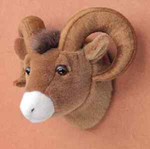 10 bighorn sheep head plush stuffed animal toy mount new ebay. Black Bedroom Furniture Sets. Home Design Ideas