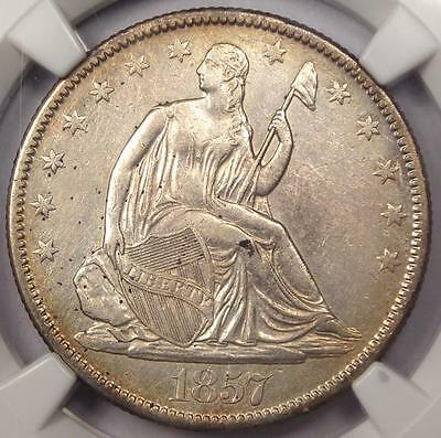 1857-O SEATED LIBERTY HALF DOLLAR 50C - CERTIFIED NGC AU DETAILS -  DATE
