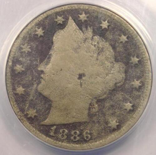 1886 Liberty Nickel 5C - ANACS G6 Details - Rare Key Date Certified Coin!