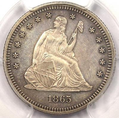 1865 SEATED LIBERTY QUARTER 25C - PCGS UNCIRCULATED -  CIVIL WAR MS COIN