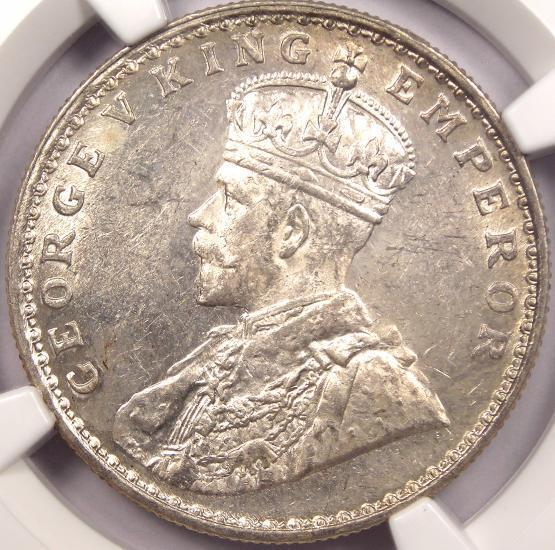 1921-B India Rupee (1R) - NGC MS62 - Very Rare Uncirculated BU Coin!