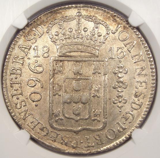 1813-R Brazil 960 Reis (960R) - NGC MS62 - Rare BU UNC Certified Coin