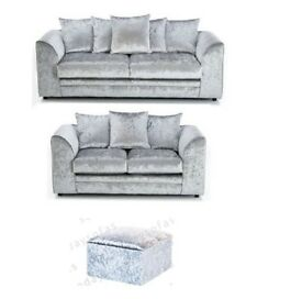 CRUSHED VELVET 3 AND 2 SEATER SILVER or BLACK(FOOTSTOOL ADDITIONAL)
