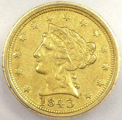 1843 O LARGE DATE LIBERTY GOLD QUARTER EAGLE $2.50   ICG XF40    VARIETY
