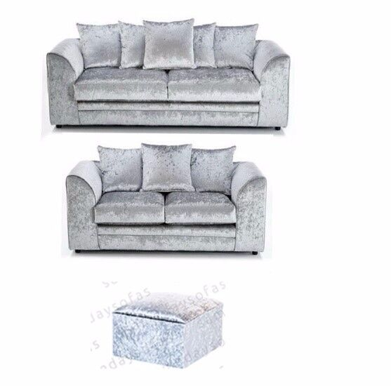 CRUSHED VELVET 3 + 2 SEATER SOFA IN SILVER FOOTSTOOL OPTIONAL