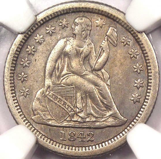 1842-O Seated Liberty Dime 10C - NGC AU Details - Rare Date Coin