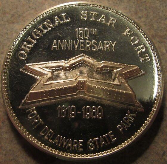 1969 Original Star Fort Delaware State Park 150th Ann. .999 Silver Round 25.6 g
