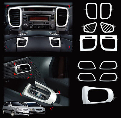 Chrome Interior Molding Kit Garnish Trim Cover 11p For 2006 2010 Kia Rio 4d & 5d