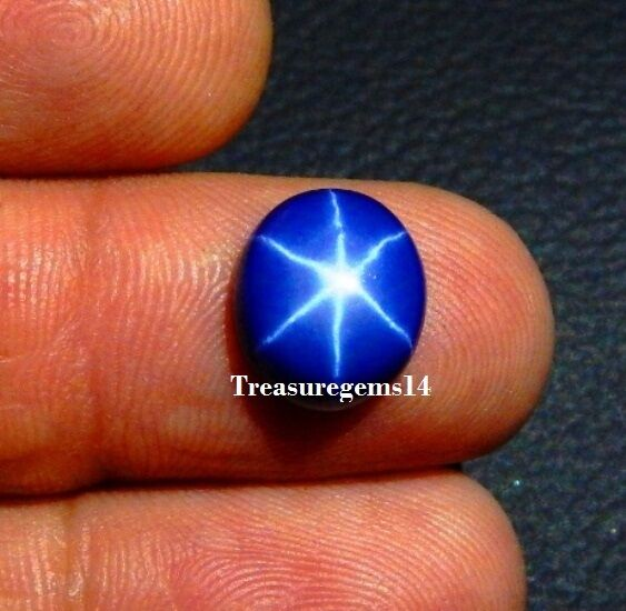 5.50 CT SUPERB BLUE STAR SAPPHIRE 6 RAYS OVAL CABOCHON RING SIZE LOOSE GEMSTONE