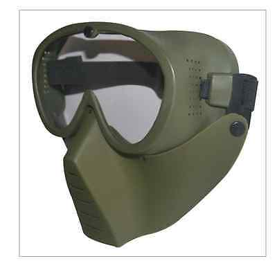TAIGEAR MOLLE LARGE GREEN CLEAR SCREEN MASK WITH STRAP for Paint Ball BEST