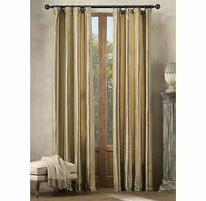 Restoration Hardware 2 Silk Taffeta Multistripe Drapes 50x96