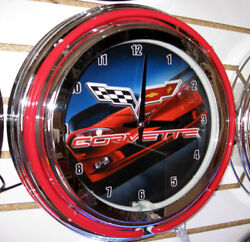 CORVETTE C-6 RED RACING CAR AND FLAGS DOUBLE RING 14 NEON CLOCK - NEW