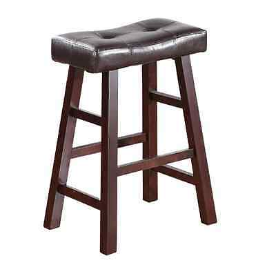 New Wood Kitchen Counter 2 Bar Stool Seat Set Leather Cherry Modern Stools 24