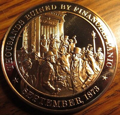 1873 Thousands Ruined By Financial Panic Franklin Mint Bronze Medal Token