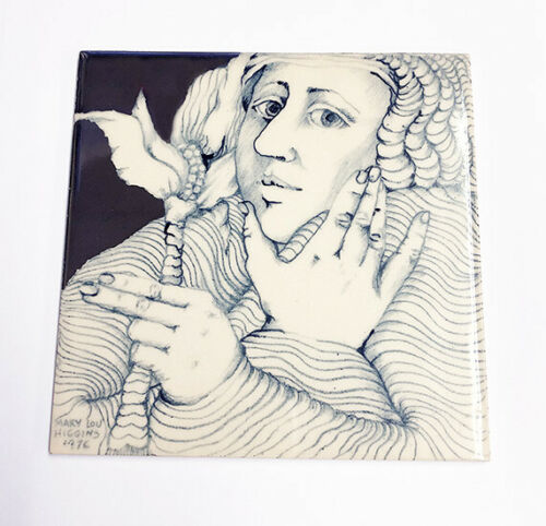 "Mary Lou Higgins 1976 Porcelain Tile - 6"" x 6"" (Rare)"