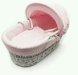Kinder valley pink Dimple with white Wicker moses basket. Brand new in sealed packs. 3 left