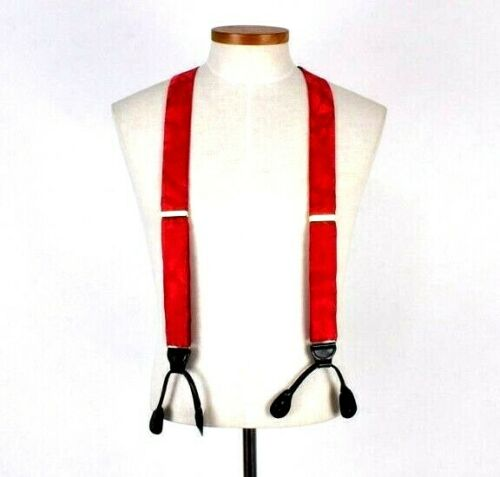 "Vintage 1990s Pelican Braces Red Suspenders Fabric Leather Brass 1.5"" Wide"