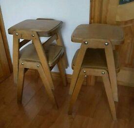 Vintage stacking stools set of 4
