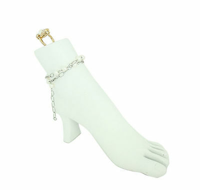 White Foot Toe Ring, Ankle Bracelet, Ring Jewelry Display Mannequin with Heel