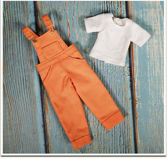 """Takara 12/"""" Blythe Doll outfits-The Blue Cowboy Suspenders And T-shirt"""