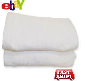 3-NEW-WHITE-HOSPITAL-THERMAL-SNAGFREE-100-COTTON-BLANKET-TWIN-SIZE-66X90-3