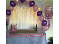 Backdrops venue decoration machine hire chocolate fountain Candyfloss chair covers Slush