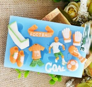 Football World cup Silicone Mould Mold Trophy Cup Cake Toppers Goal Boots kids