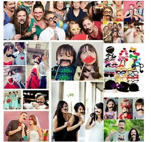 58 photo booth selfie props moustache on stick weddings christmas birthday party ebay. Black Bedroom Furniture Sets. Home Design Ideas