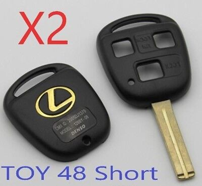 Set of 2 LEXUS Remote Head Key SHELL 3 BUTTON SHORT BLADE USA Seller A++
