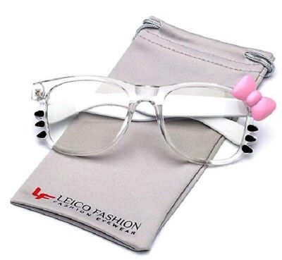 Hello Kitty Bow Women's Fashion Clear Lens Glasses with Bow and (Hello Kitty Whiskers)