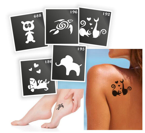 Details about 5 Pieces Henna Tattoo Stencil, Air Brushing or Glitter Tattoos
