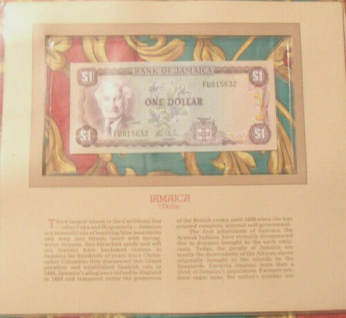 Most Treasured Banknotes Jamaica 1 Dollar 1982 - 1986 UNC P 64b sign 7 Prefix FU