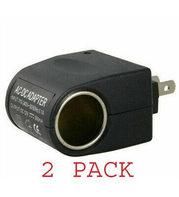 110V-240V AC Plug To 12V DC Car Cigarette Lighter Converter Socket Adapter 2 PK