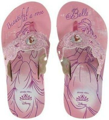 New Stride Rite DISNEY Thong Sandals Pink Glitter Princess Belle 9 10 11 12 M