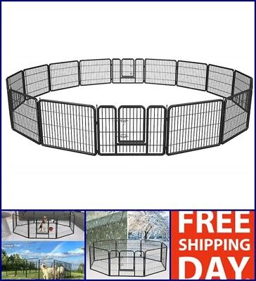 """Extra Large Dog Playpen Puppy Rabbit Cat Cage 16 Panels Exercise Fence Pen 24"""" for sale  USA"""