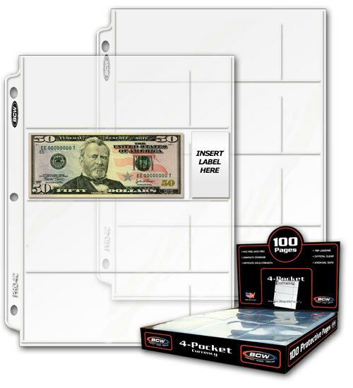 50 sheets BCW 4 Pocket Currency Pages for Binder Albums