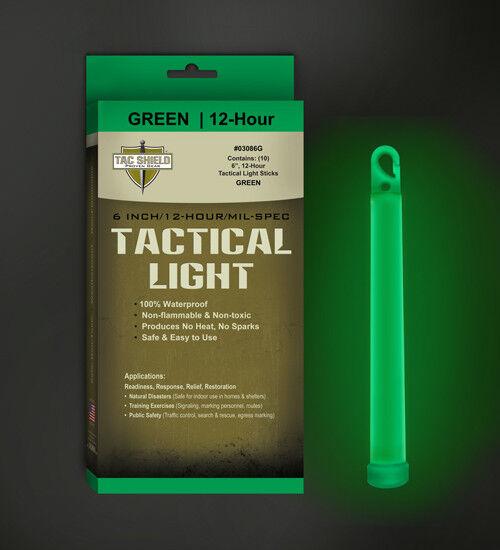 NEW! TAC SHIELD Tactical 12 Hour Light Stick (10-Pack), Green 03086G