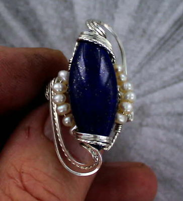 LAPIS LAZULI GEMSTONE RING IN STERLING SILVER and PEARLS WIRE WRAPPED
