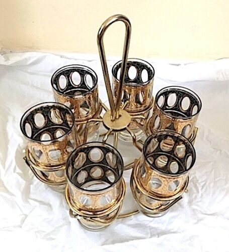 Set of 6 - 12 Ozs. Culver Valencia Vintage Tall Bar Glasses in Carousel Caddy
