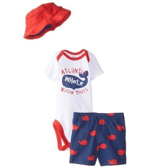 Gerber Baby Boy 3-Piece Whale Red/Blue Onesies Cap & Pants S