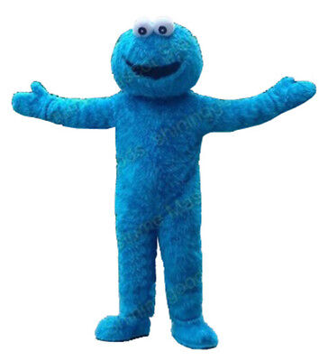 Halloween Blue Cookie Monster Mascot Costume Sesame Street Dress Up Adult Unisex