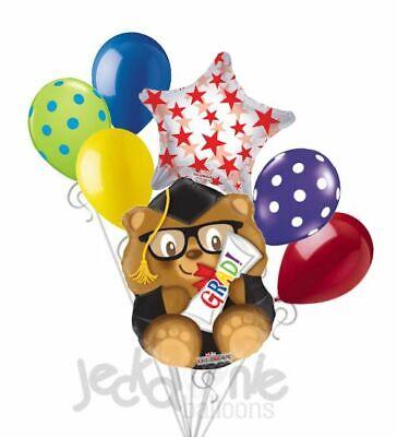 7 pc Smart Bear Grad Balloon Bouquet Happy Graduation Congratulations Teddy Kid](Congratulations Balloons)
