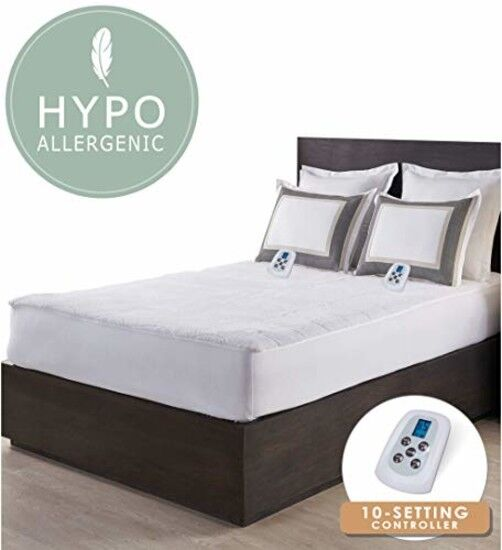 Deluxe Queen Sherpa Heated Electric Mattress Pad Hypoallerge
