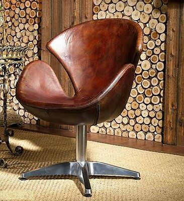 Vintage Ledersessel Echtleder Drehsessel Loft Clubsessel Retro Design Sessel 435