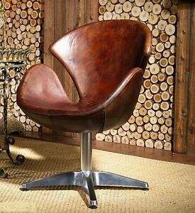 Vintage Leather Armchair Brown Real Swivel Chair Loft Club ...