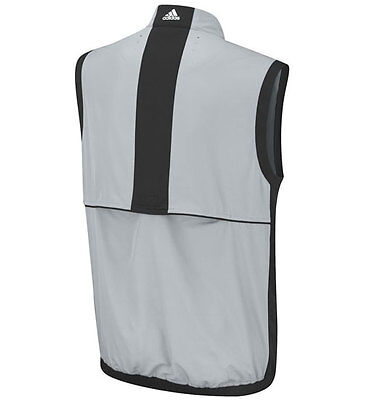 Adidas Climaproof Chrome Grey/Black Wind Vest Sleeveless Full Zip S,M,L,XL,XXL