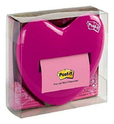 Pink Heart - Post-it Brand Pop-up Note Dispenser With 50 Pink 33 Notes - New