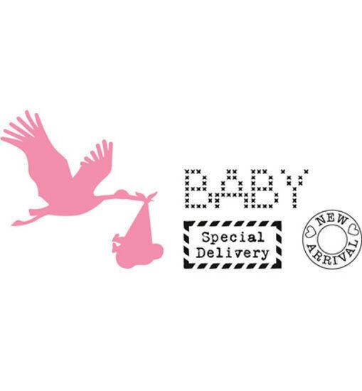 Stanzschablone & Clearstamps im Set - Storch mit Baby  Marianne Design (COL1381)