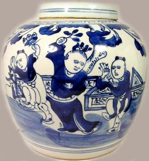 Antique Porcelain Blue + White Ming Style Jar Musicians Dancers Park 19thC China