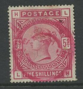 GB-QV-1883-5-CRIMSON-LH-SG181-RED-PARCEL-PMK-UNUSUAL